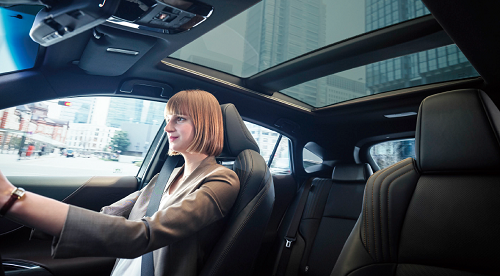 ハリアーを運転する女性とパノラマルーフの使用例